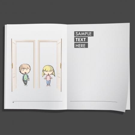 Kids behind door printed on white book, Vector design Stock Vector - 17265456