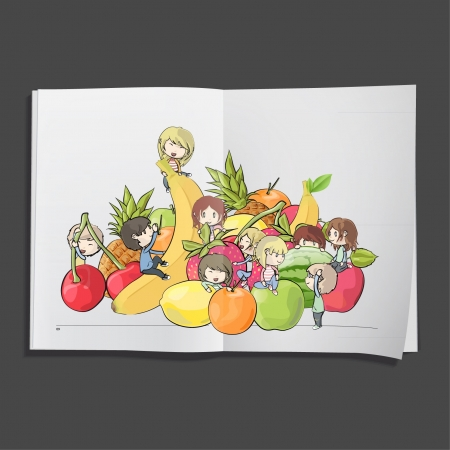 kids around fruits printed on white book, Vector design   Stock Vector - 17265542