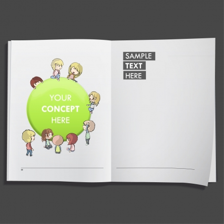 Kids with green web button printed on white book, Vector design Stock Vector - 17265465