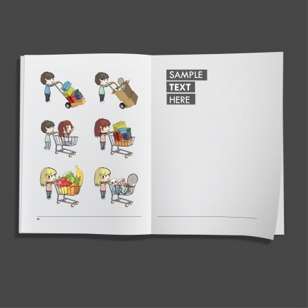 Kids shopping in supermarket printed on white book, Vector design   Vector