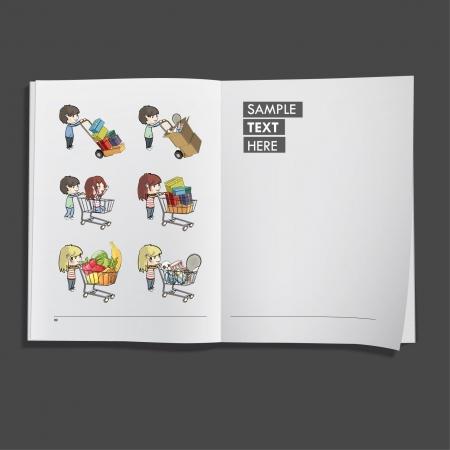 Kids shopping in supermarket printed on white book, Vector design Stock Vector - 17265531