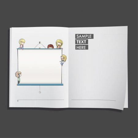 Kids with projector screen printed on white book, Vector design   Vector