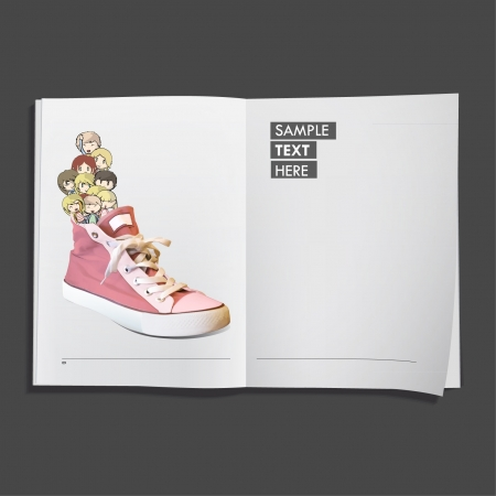 Kids on pink shoe printed on white book, Vector design Stock Vector - 17265516
