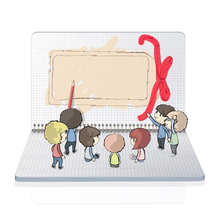 children s book: Many kids drawing a gift card in notebook  Vector design