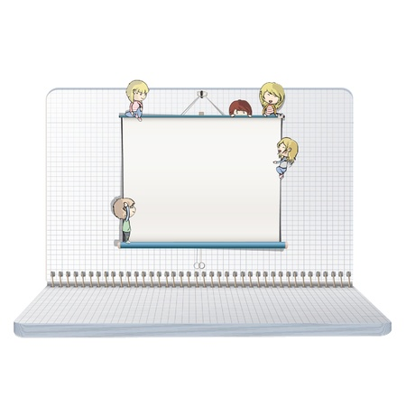 Open notebook with many children around a white screen  Vector design