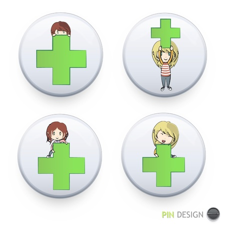 Girls playing with symbol of pharmacy inside a white button  Vector design   Stock Vector - 17265422
