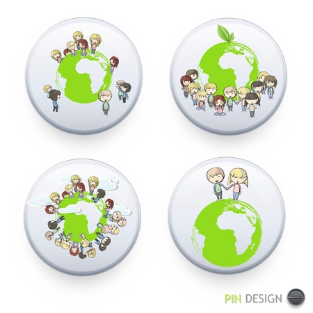 Collection of kids around the planet inside a white button  Vector design   Stock Vector - 17265575