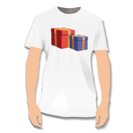 Gifts printed on white shirt  Vector design Stock Vector - 17265356
