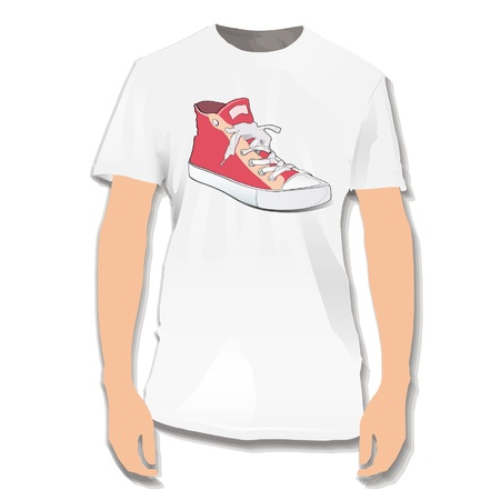 Red shoe printed on white shirt  Vector design   Stock Vector - 17265393
