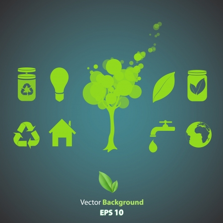 Collection of several ecological icons  Vector design   Vector