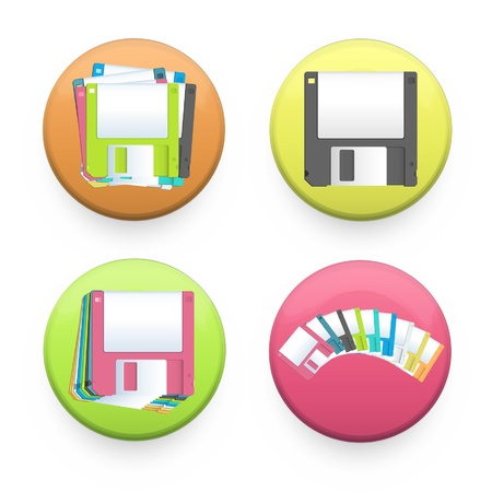 Collection of colorful buttons with diskettes inside  Vector design   Stock Vector - 17265463