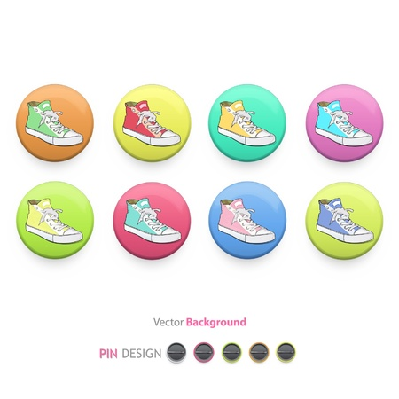 Collection of colorful buttons with fashion shoes inside  Vector design   Vector
