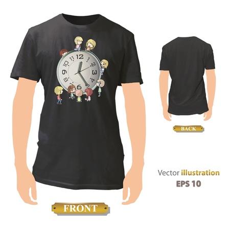 Kids around clock printed on black shirt  Vector design Stock Vector - 17265461