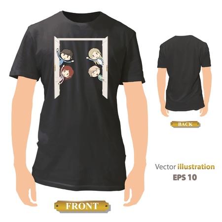 Kids behind door printed on black shirt  Vector design Stock Vector - 17265451