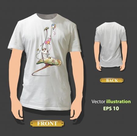 Cute monster printed on white shirt  Vector design Stock Vector - 17265512
