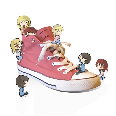 tennis shoes: Children playing around a pink shoe  Vector design