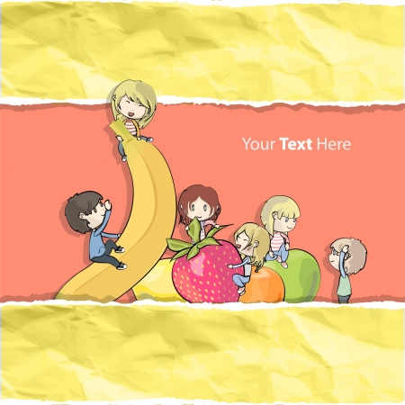 banana sheet: Many children playing between few fruits  Isolated vector illustration   Illustration