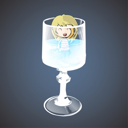 Girl in to a water glass  Vector design   Vector