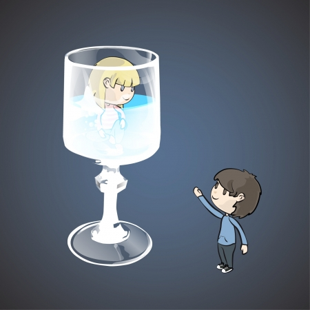 Girl in to a water glass and a friend  Vector design   Stock Vector - 17265458