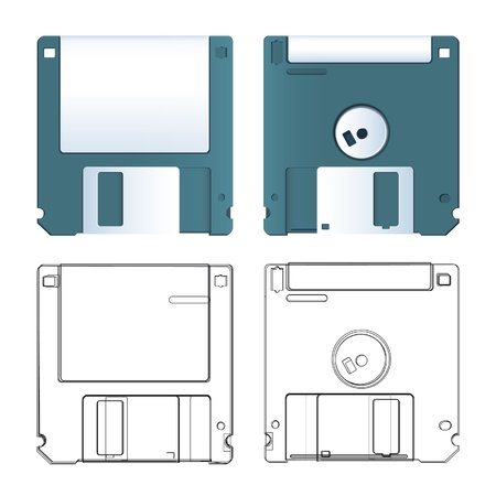 Realistic and sketch of diskette  Vector design Stock Vector - 17265355
