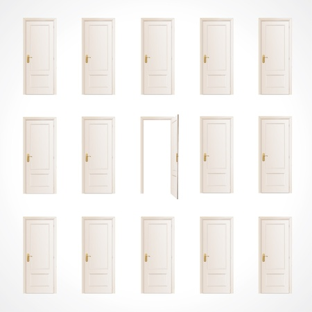Lot of white doors and one open  Vector design   Ilustracja