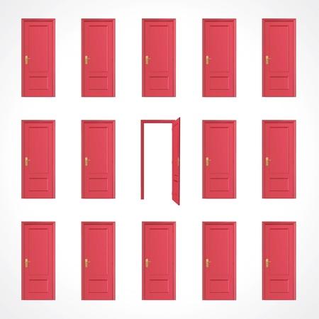 doorframe: Varias puertas rojo de dise�o vectorial