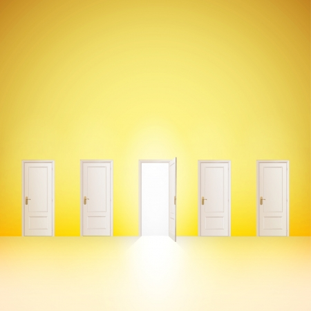 One door open and the others closed  Vector design   Illustration