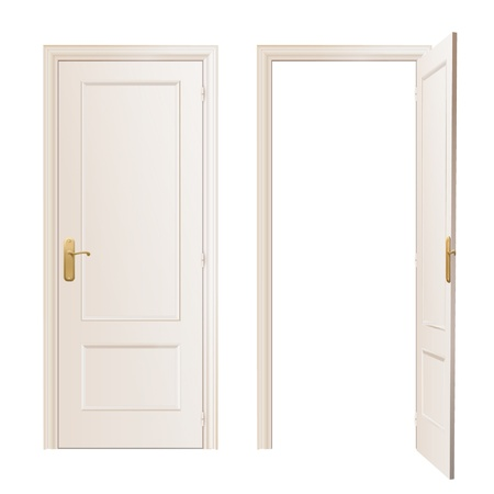 Realistic close and open door on white background  Vector design   Vector