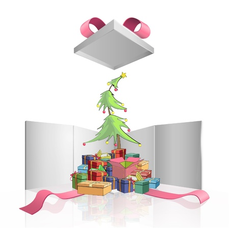 Christmas tree around presents inside a big gift box with red ribbons  Vector design   Stock Vector - 17265401