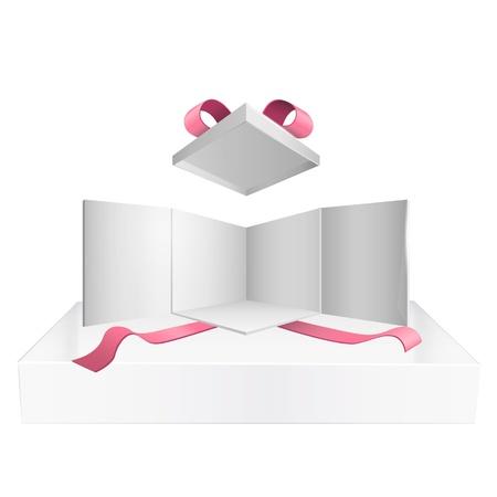 x stand: Abra el cuadro blanco con cintas rojas en fondo blanco del dise�o Vector fondo
