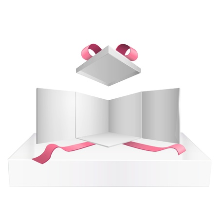 Open white box with red ribbons on isolated white background  Vector design   Vector
