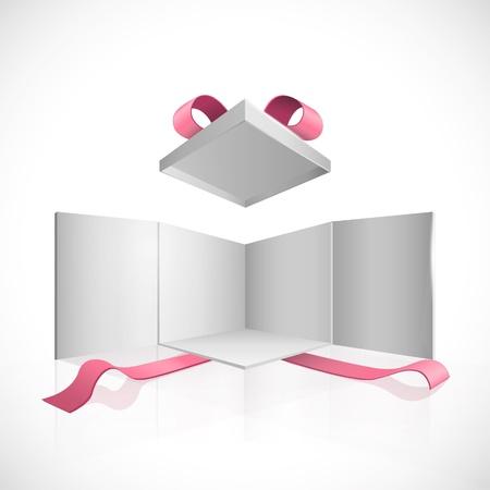 dar un regalo: Abra la caja blanca con un dise�o rojo del vector cintas
