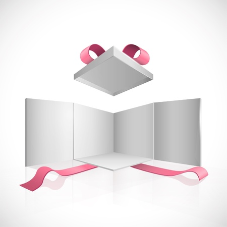 storage box: Open white box with red ribbons  Vector design   Illustration