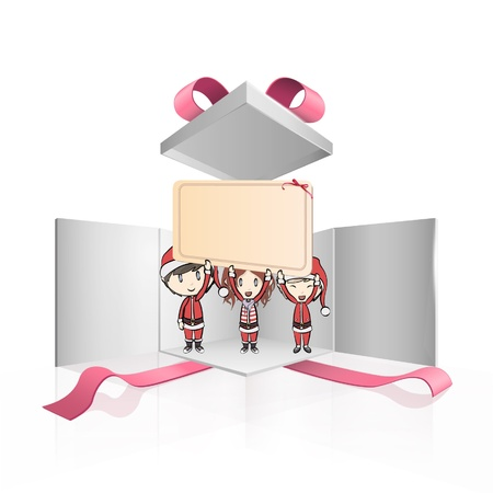 Three Santa claus holding a big billboard inside a gift box  Vector design   Stock Vector - 17265391