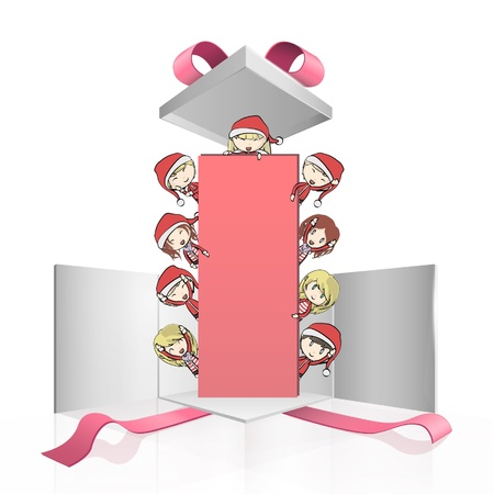 Group of children with Santa s costume holding a empty placard inside a gift box  Vector design Stock Vector - 17265397