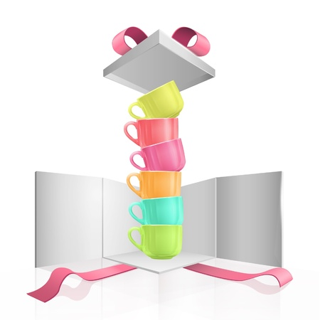 Colorful cups in gift box  Vector design   Vector