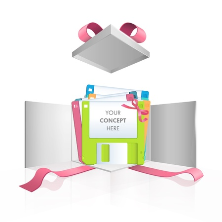 Colorful diskettes in gift box  Vector design