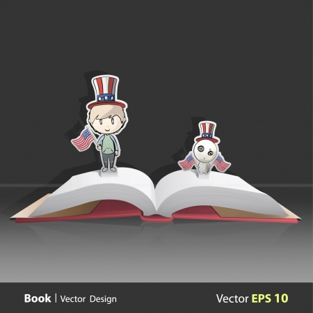 Open book with child and teddy dressed as American with flags  Vector design  Pop-Up Illustration   Vector