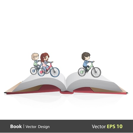 Group of children riding a bicycle inside a open Pop-up book  Vector design   Stock Vector - 17303094