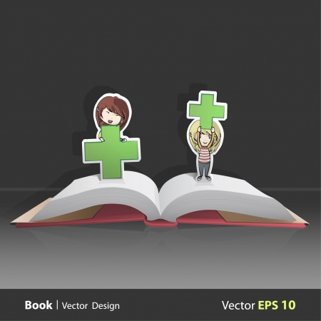 Girls playing with symbol of pharmacy in Pop Up book  Vector background illustration   Vector