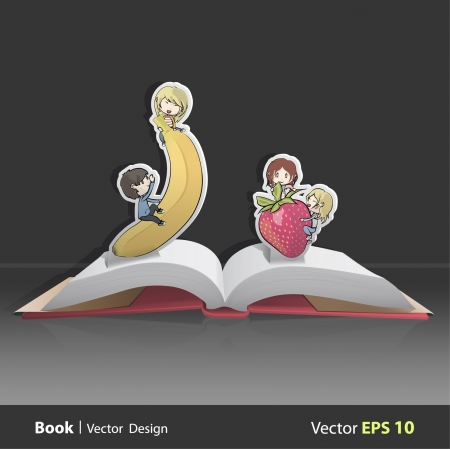 Open book with kids playing with a fruits  Vector design  Pop-Up Illustration Stock Vector - 17303121