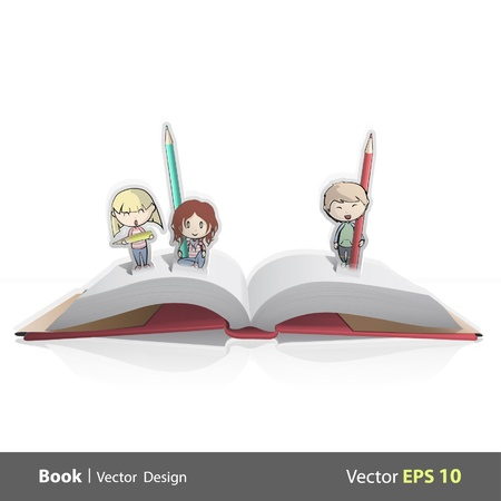 Pop-up book card with three friends drawing  Vector illustration   Illustration