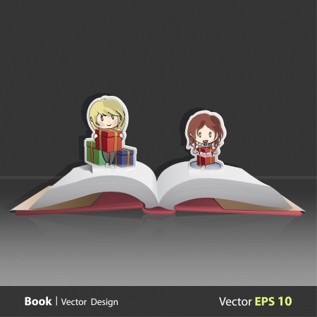 Open book with girls giving a gift for a birthday  Vector design  Pop-Up Illustration   Vector