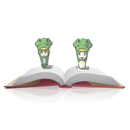 Friends with costume of snake on a book  Vector design   Vector