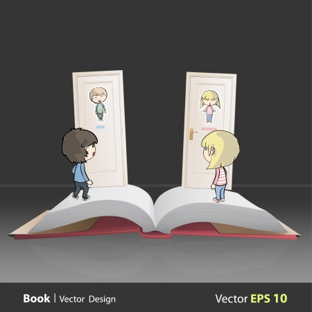 Toilet doors on a book  Vector illustration   Vector