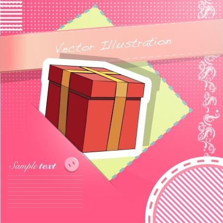 Gift in a nice pink cloth  Vector design Stock Vector - 17303106