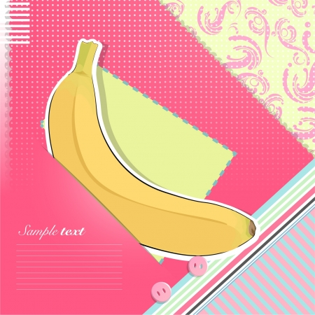 Funny postcard with banana inside  Vector illustration   Vector