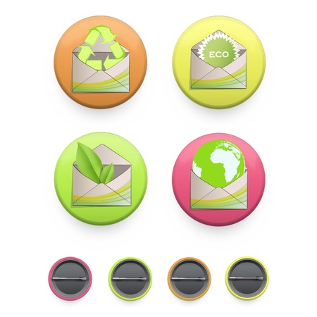 Collection of colorful buttons with ecologic icons on isolated background  Vector design Stock Vector - 17303212