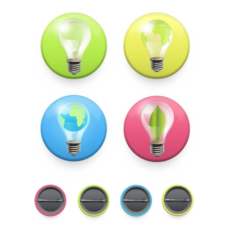 Collection of colorful buttons with ecologic icons on isolated background  Vector design Stock Vector - 17303224