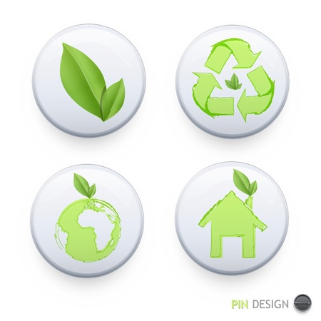 Collection of buttons with ecologic icons on isolated background  Vector design   Illustration